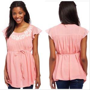 Motherhood Maternity Pink Flutter Sleeve Top XL